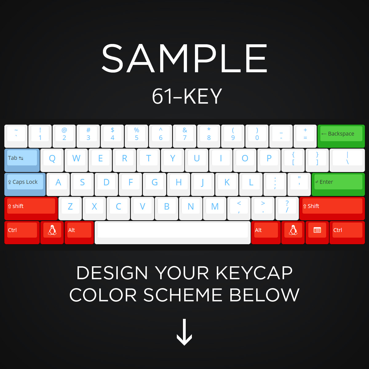 44488ffb05d ... AN EXAMPLE: Max Keyboard 61-Key Layout Custom Color Cherry MX Full  Replacement Keycap
