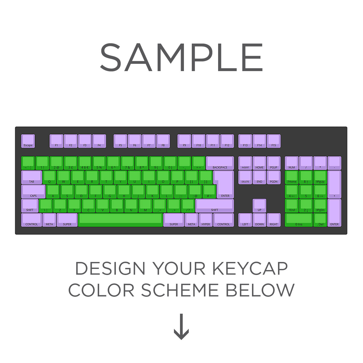max keyboard iso layout custom color cherry mx full replacement keycap set front side print