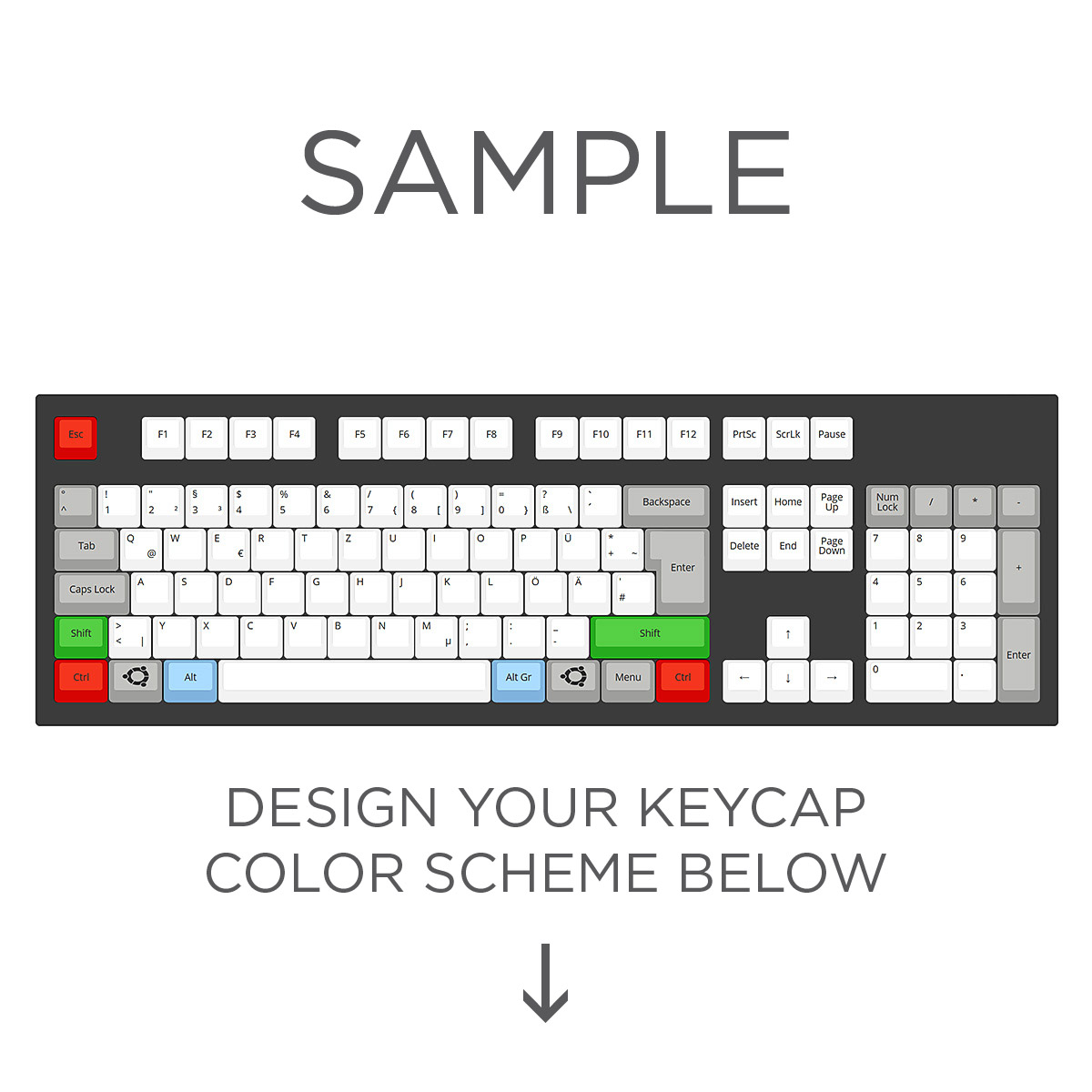 0c88562c106 Max Keyboard ISO Layout Custom Color Cherry MX Keycap Set (Top Print ...