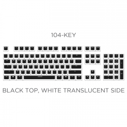 PBT Double Shot 104-key Black Top White Translucent Side Wall Backlight Keycap Set