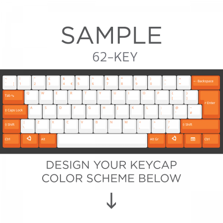Max Keyboard ISO 62-Key Layout Custom Color Cherry MX Full Replacement Keycap Set