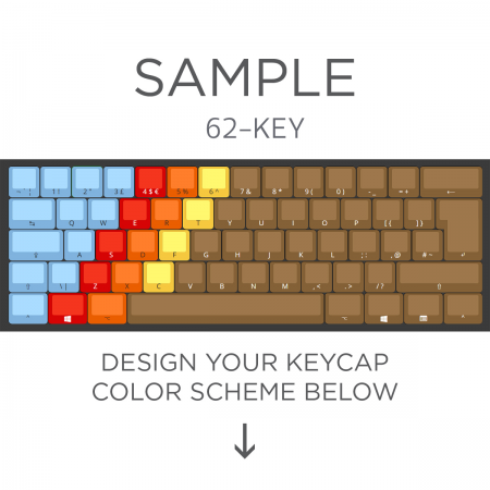 Max Keyboard ISO 62-Key Layout Custom Color Cherry MX Full Replacement Keycap Set (Front Side Print)