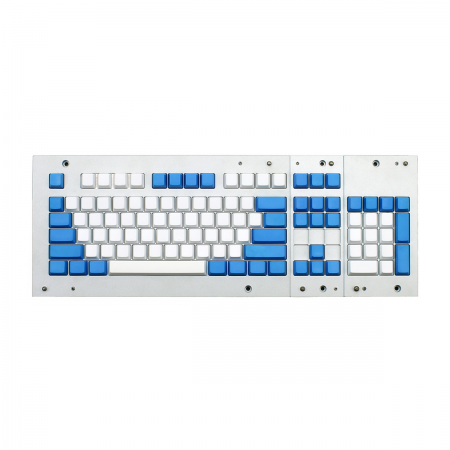 MAX ANSI Bi-Color PBT (White/Blue) 104-key Cherry MX Keycap Set with 6.25x spacebar bottom row