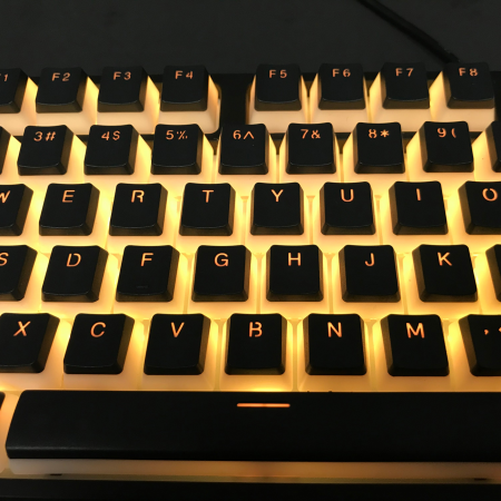 AN EXAMPLE: PBT Double Shot 104-key Black Top White Translucent Side Wall Backlight Keycap Set