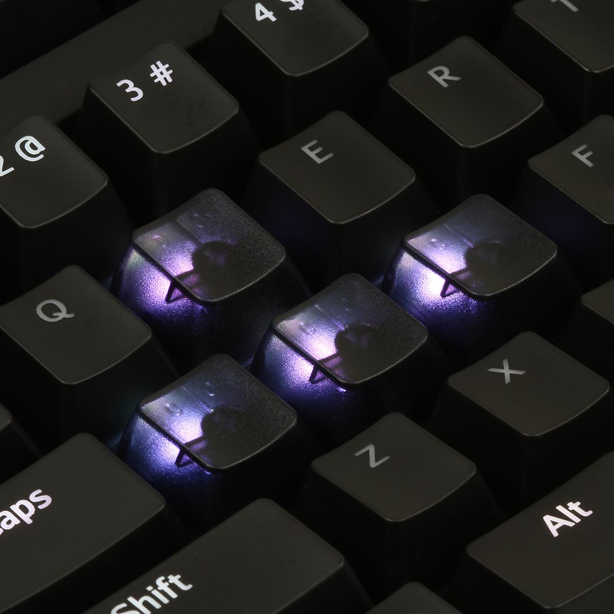 Black Translucent Cherry MX Blank Keycap Set (ESC, WASD, Arrow Keys)