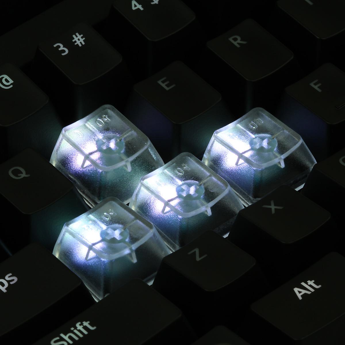 Clear Translucent Cherry MX Blank Keycap Set (ESC, WASD, Arrow Keys)
