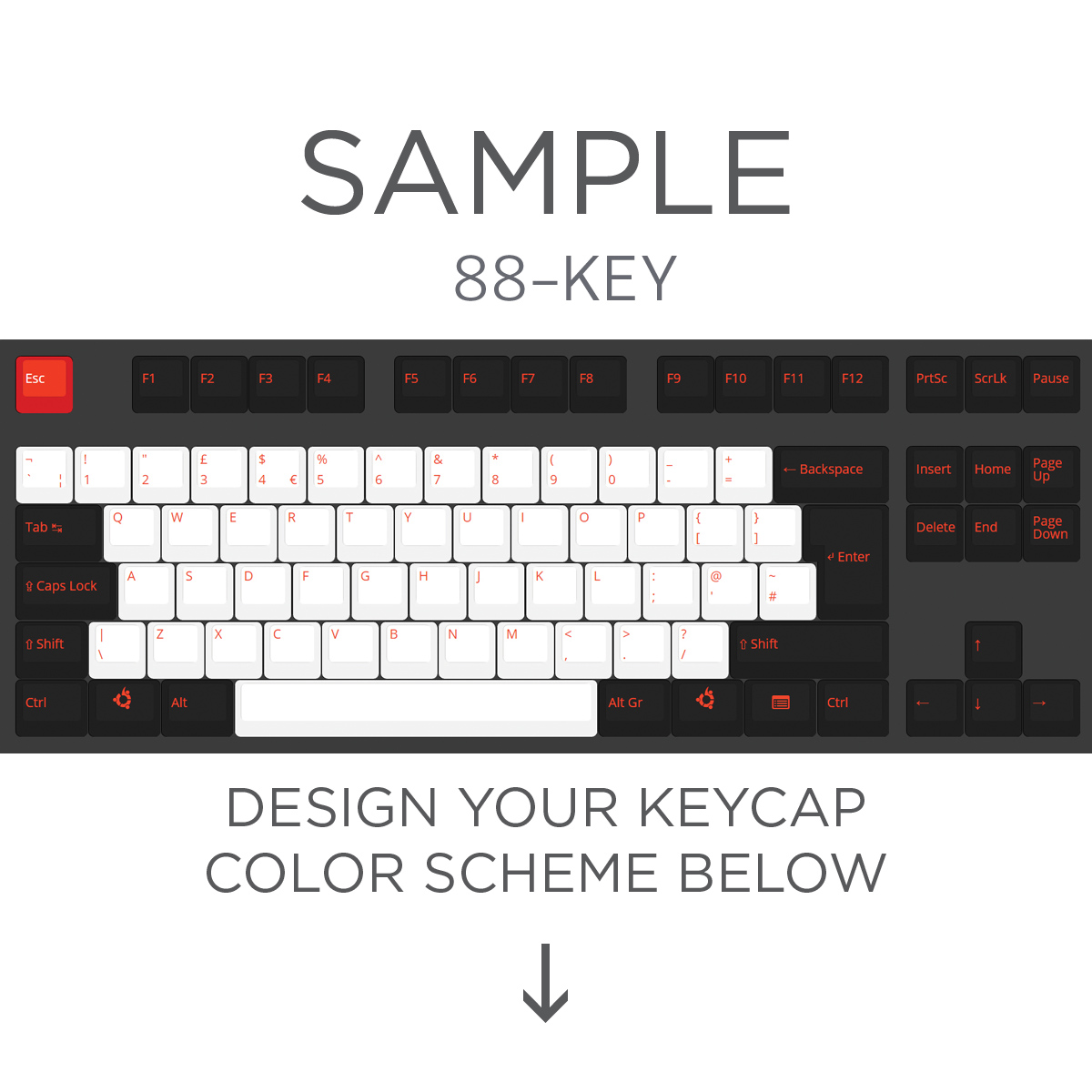 ISO Layout Custom Color Cherry MX Keycap Set (Top Print / Blank)