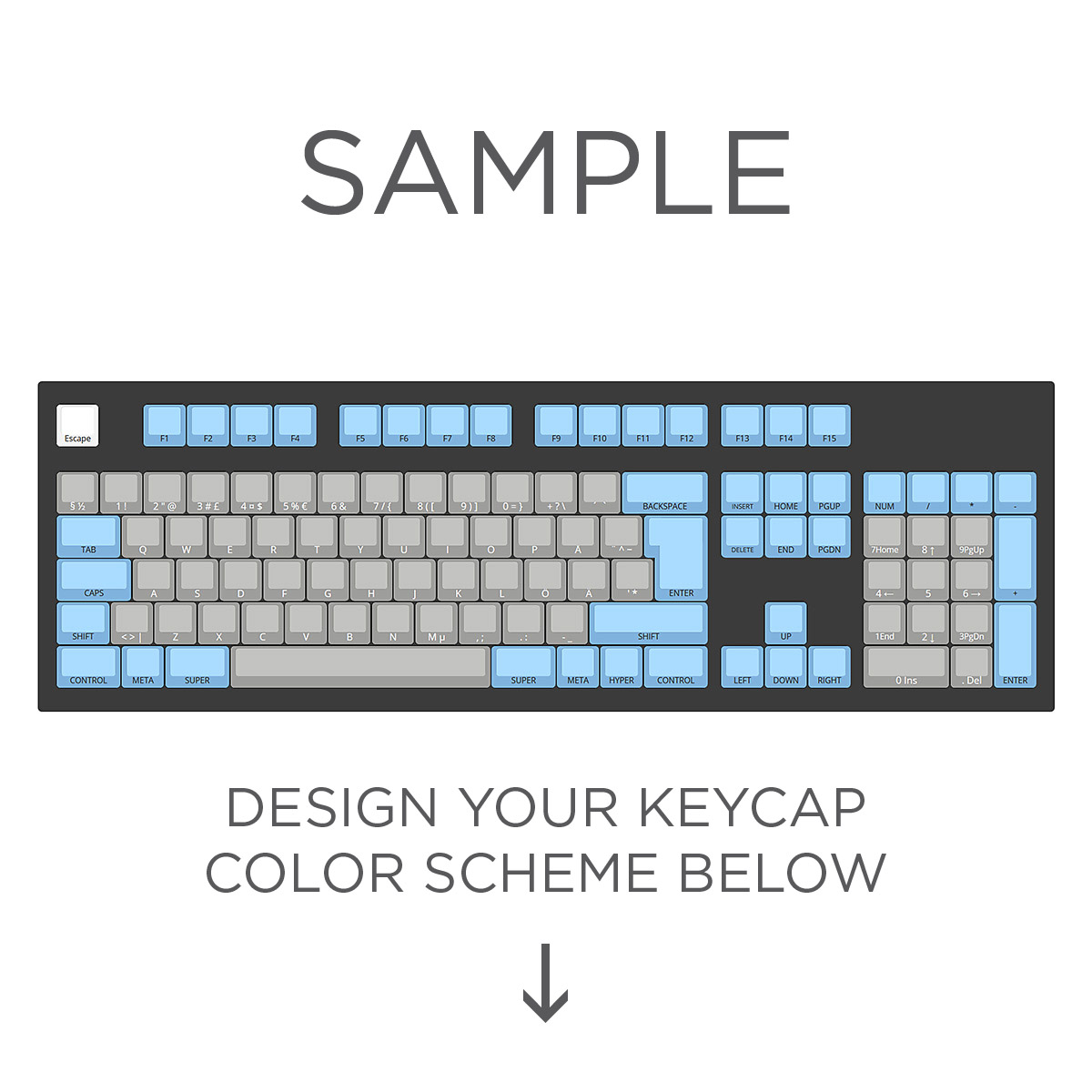 Max Keyboard ISO Layout Custom Color Cherry MX Full Replacement Keycap Set  (Front Side Print ...