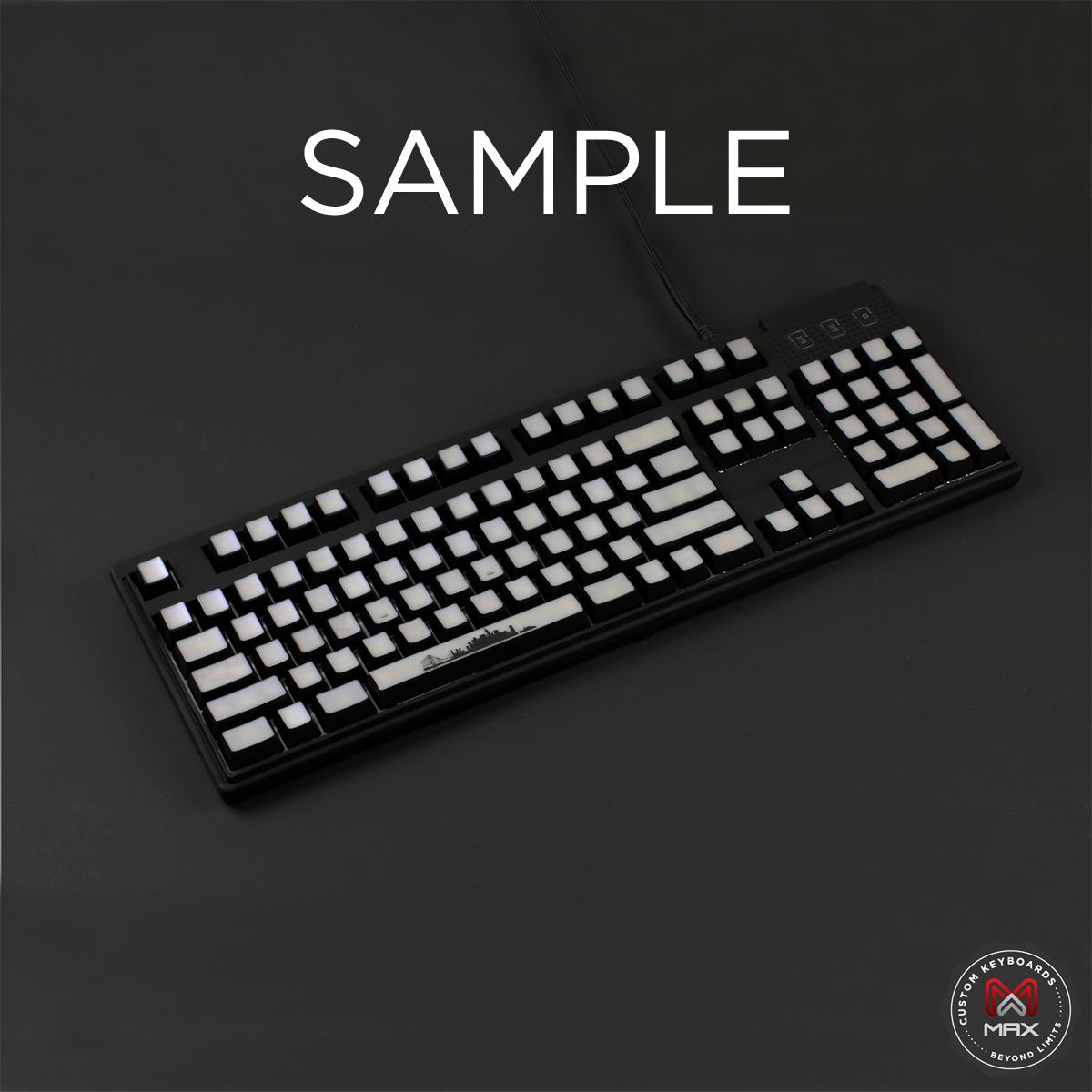 Custom White Translucent Top Backlight Keycap Set (Blank)