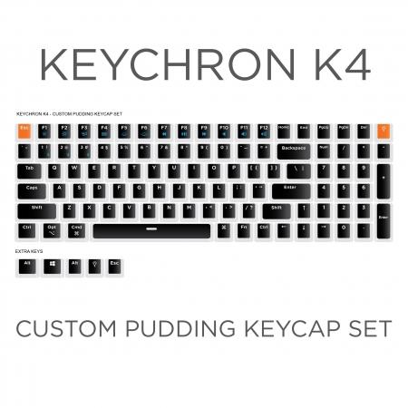 Keychron K4 Custom Black Pudding Keycap Set